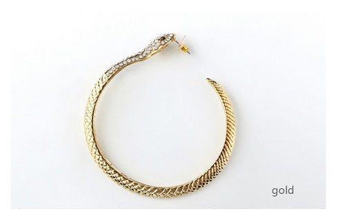"3.75"" gold crystal pierced snake big earrings basketball wives"