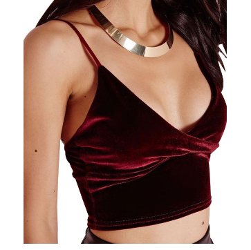 velvet spaghetti strap cami lounge wear crop top tg