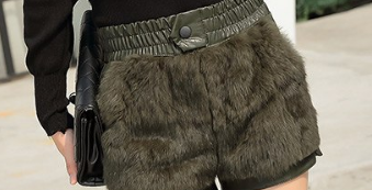 faux fur shorts faux leather tg
