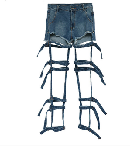 removable strap denim Shorts