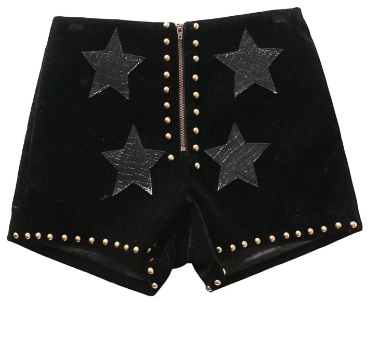 velvet star studded shorts tg