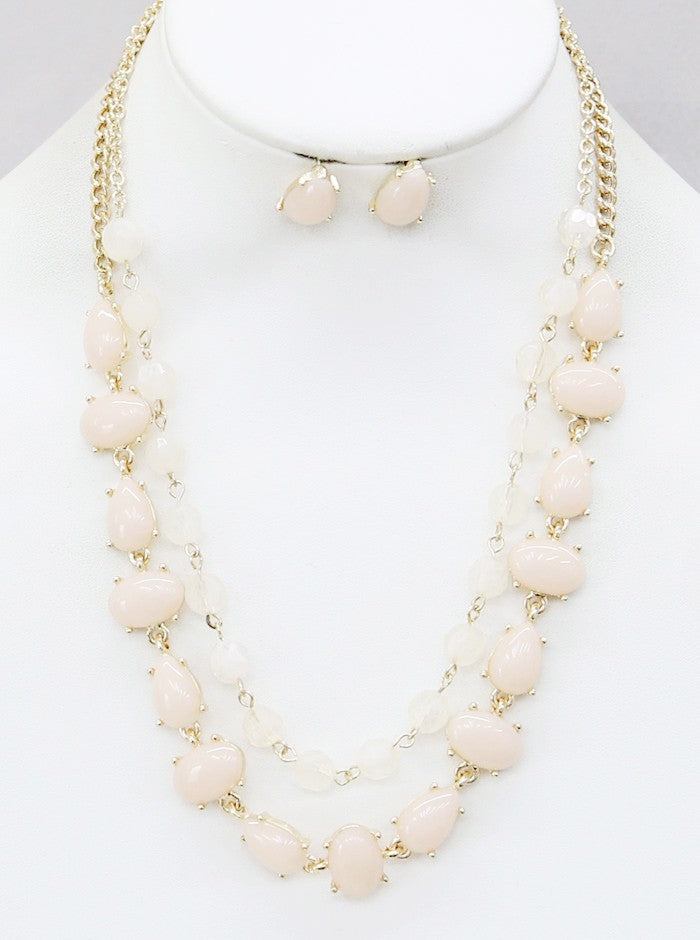 "16"" ombre glass beads layered two toned bib necklace .50"" earrings"