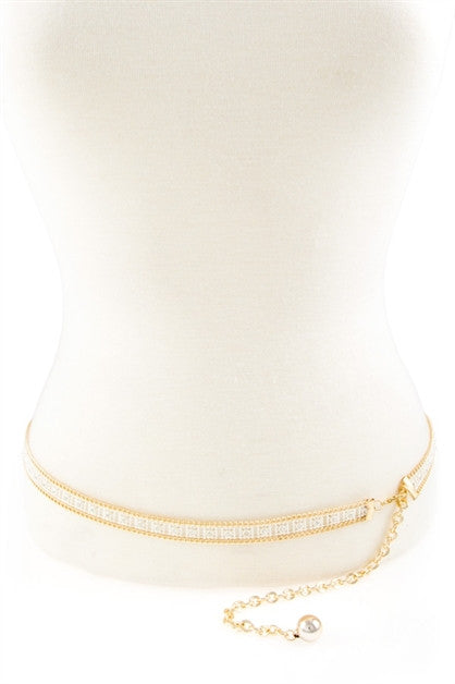 "35"" - 43"" gold chain acrylic crystal belt .60"" wide"