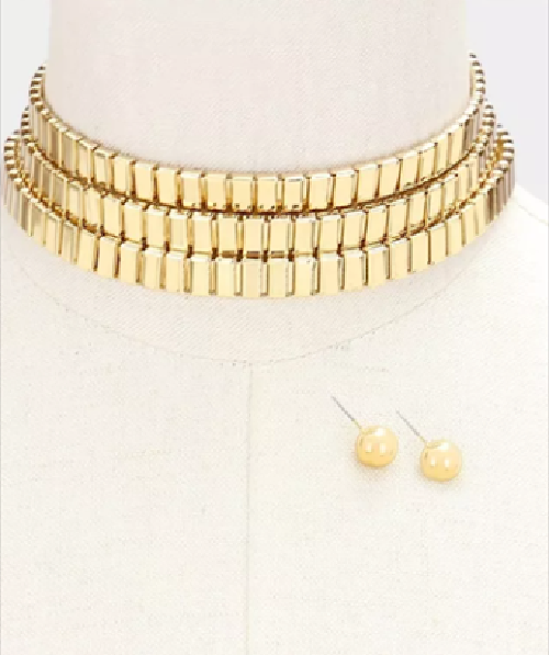 "14"" gold multi tier choker collar bib layered necklace .25"" earrings 1"" wide"