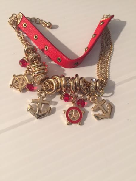 "5"" gold red crystal nautical sea life anchor charm layered chain bracelet bangle"