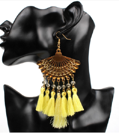 "4.75"" yellow dangle tassel fringe boho earrings pierced"