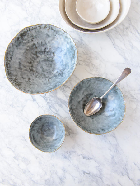 Kaffihaus ~ Dapple Nested Bowls :: Steel Blue