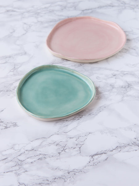 Country House Plates - Pink & Turquoise