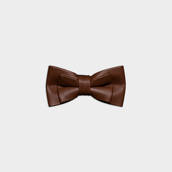 Men's Genuine Leather Bow Tie - Twin narrow