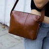 Woman's Everyday Leather Sling Bag - Dark Tan