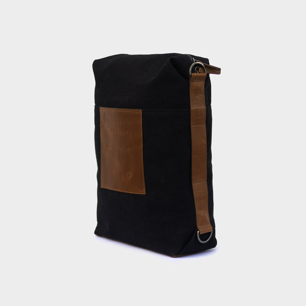 Latitude Leather Laptop Bag - Convertible - Canvas Black