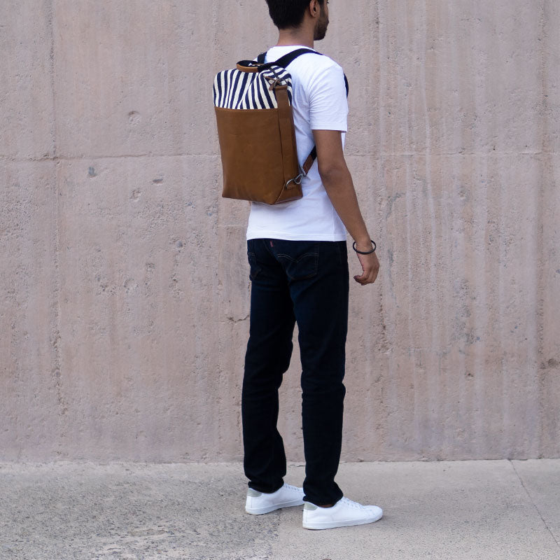 Latitude Leather Laptop Bag - Convertible - Stripes Leather