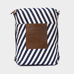 Latitude Leather Laptop Bag - Convertible - Stripes Fabric