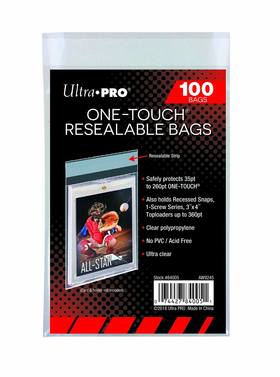 Ultra Pro One Touch Bags (100 pack) (must be ordered with sports cards)