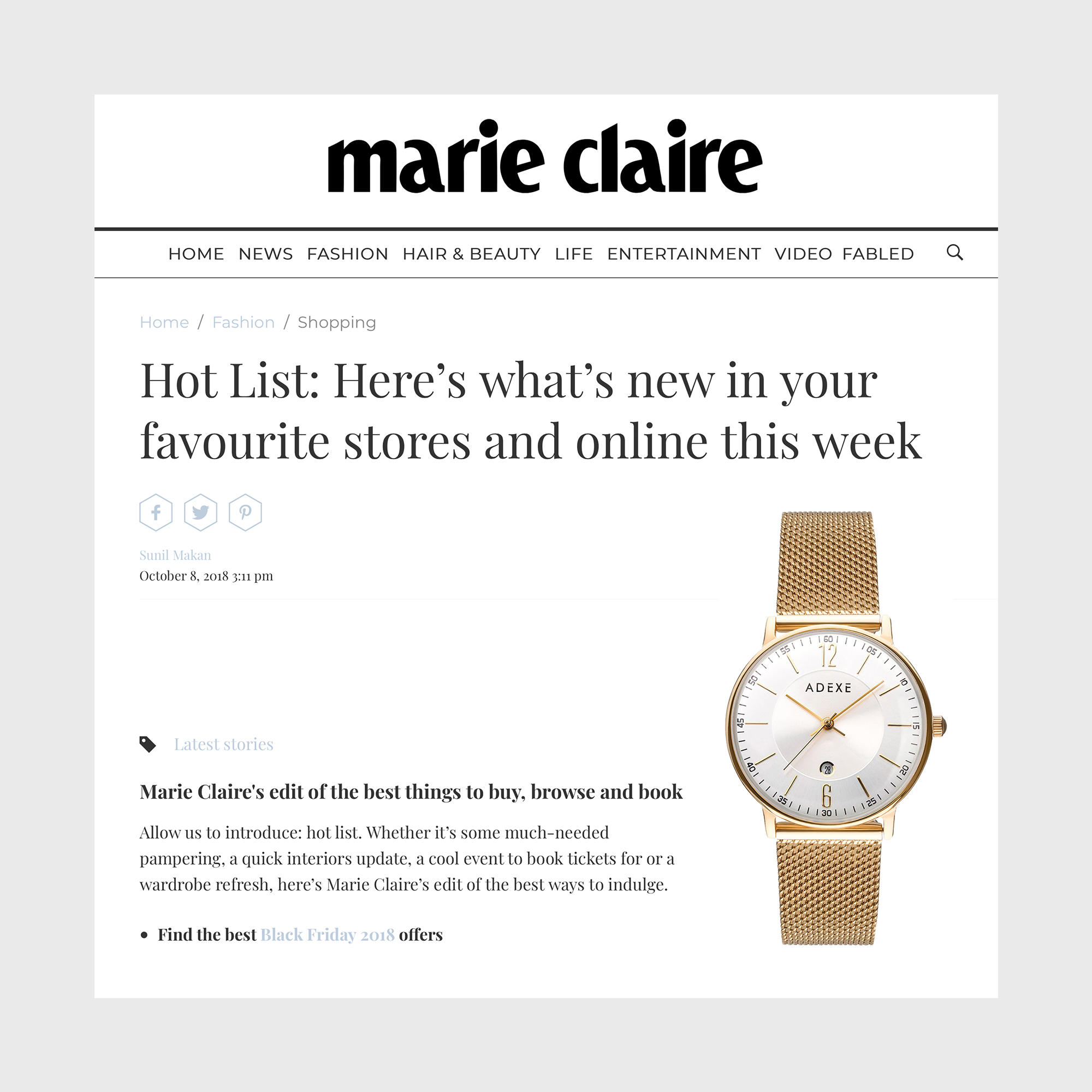 Marie Claire and ADEXE Watches