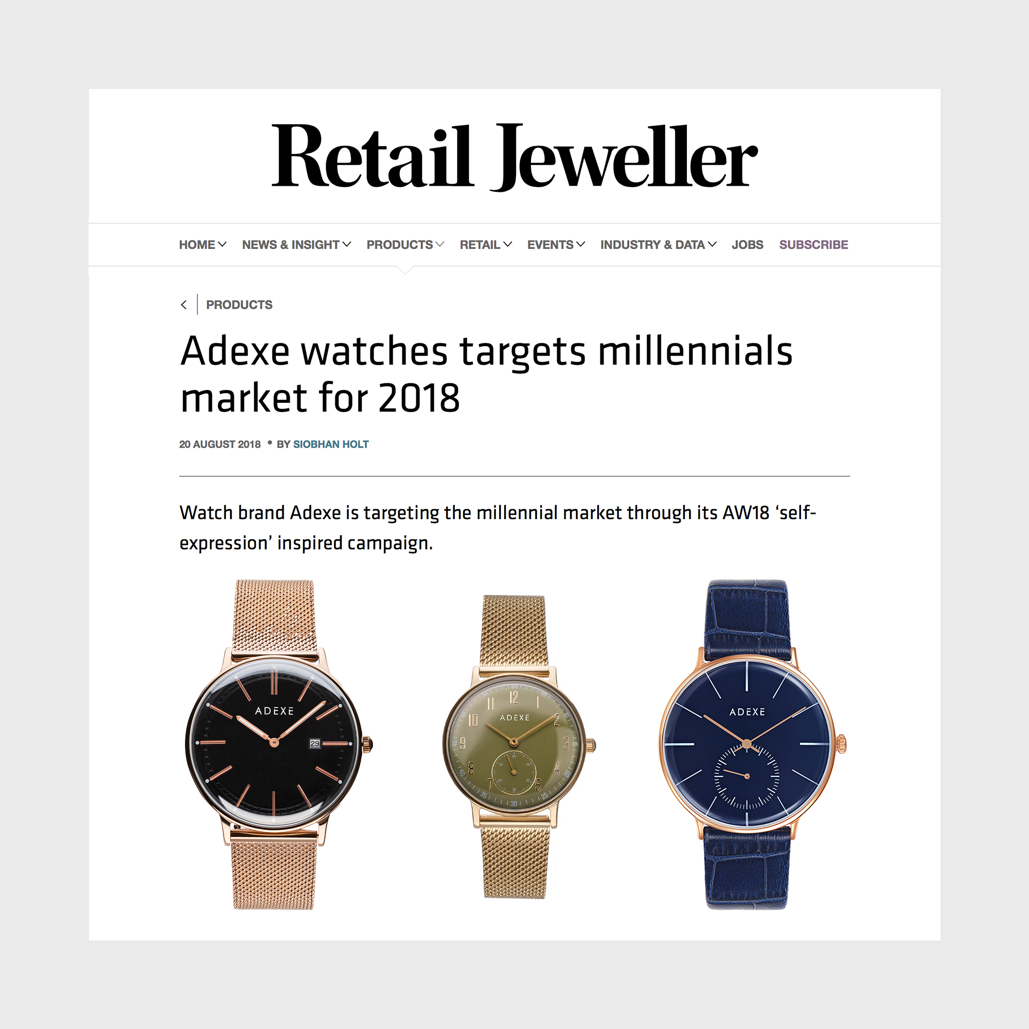 Retail Jeweller Featuring ADEXE