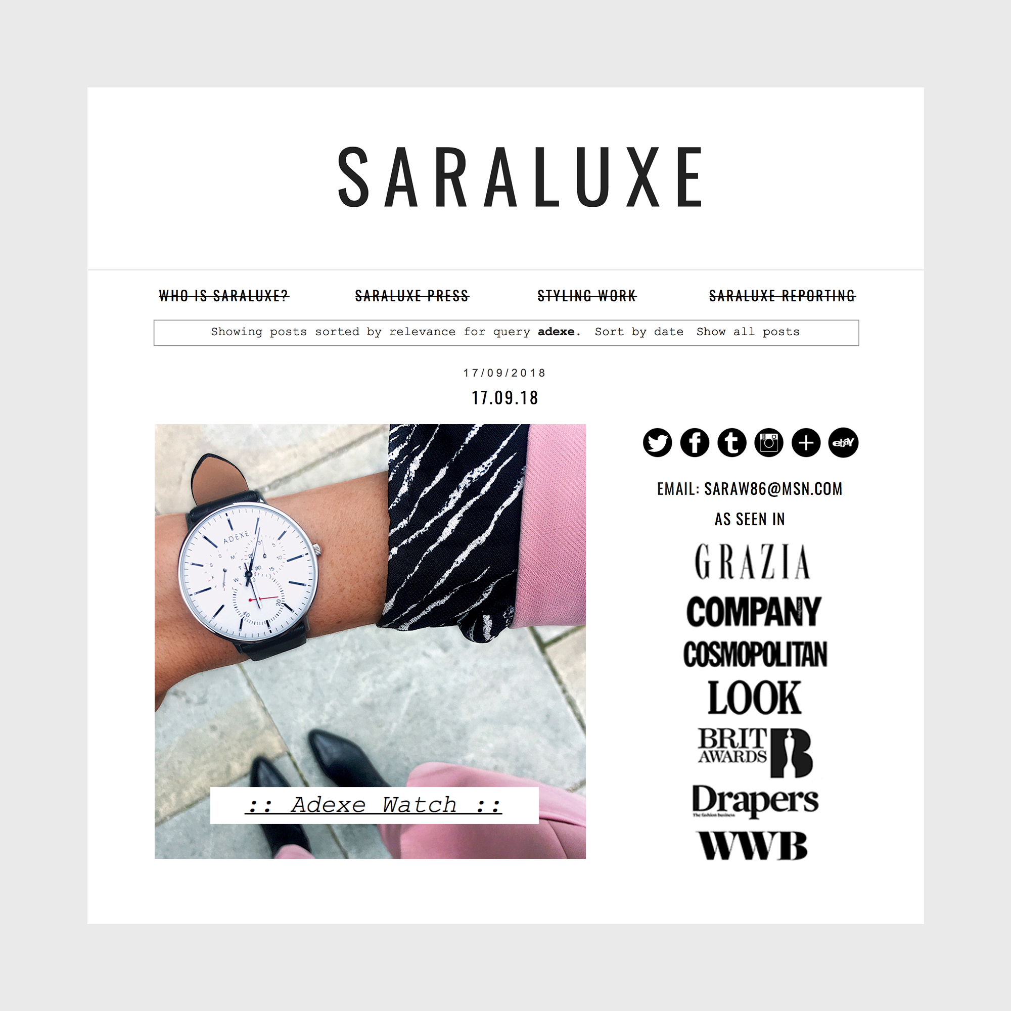 Sara Luxe Styling With ADEXE Watches