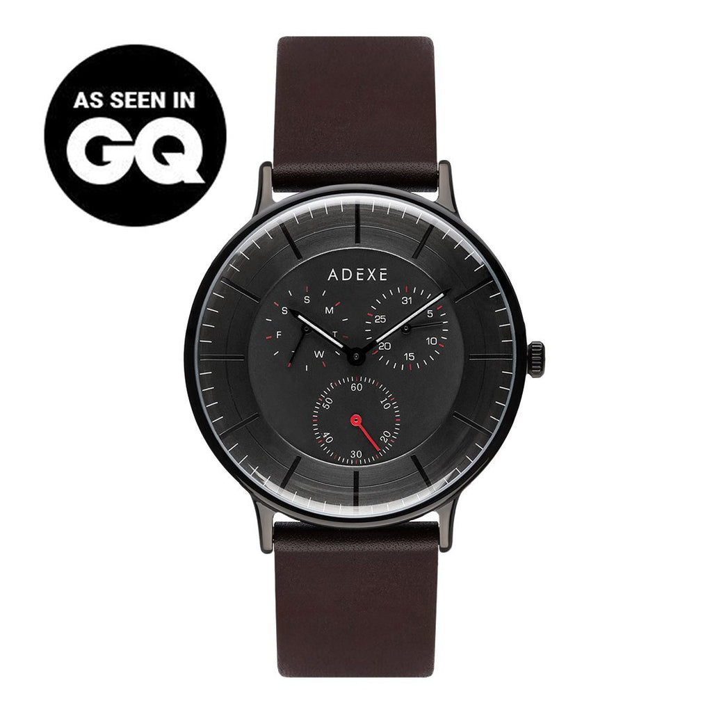 Grande Leather - Black Case 42mm - ADEXE Watches