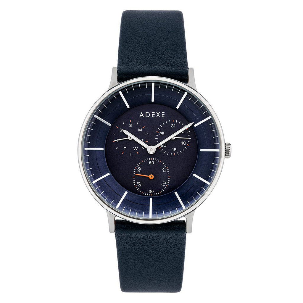 Grande Leather 2.0 -Silver Case 41mm Première Adexe Navy