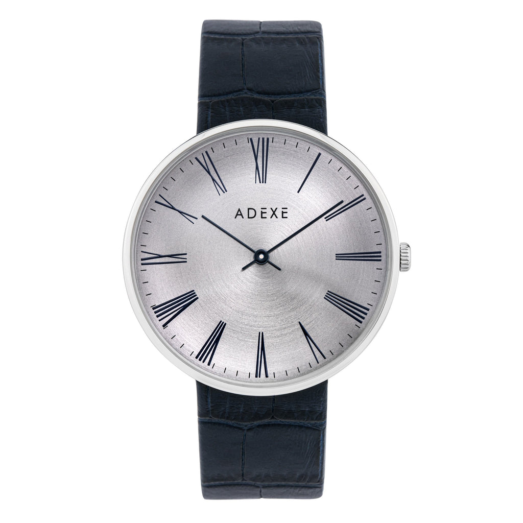Grande Leather 42mm Muses Adexe Silver & Blue