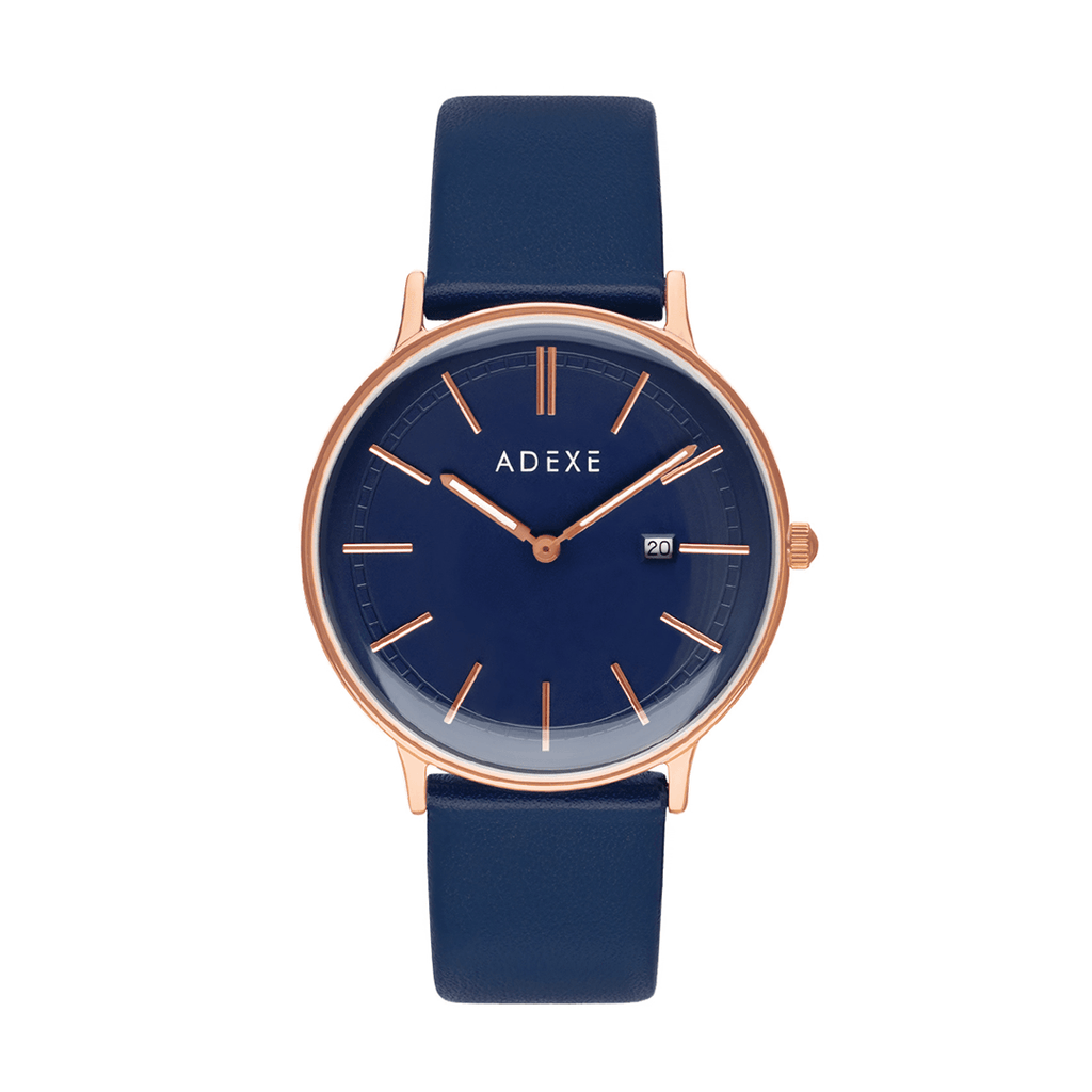 Grande Blue & Rose Gold Leather Case 40.5mm - ADEXE Watches