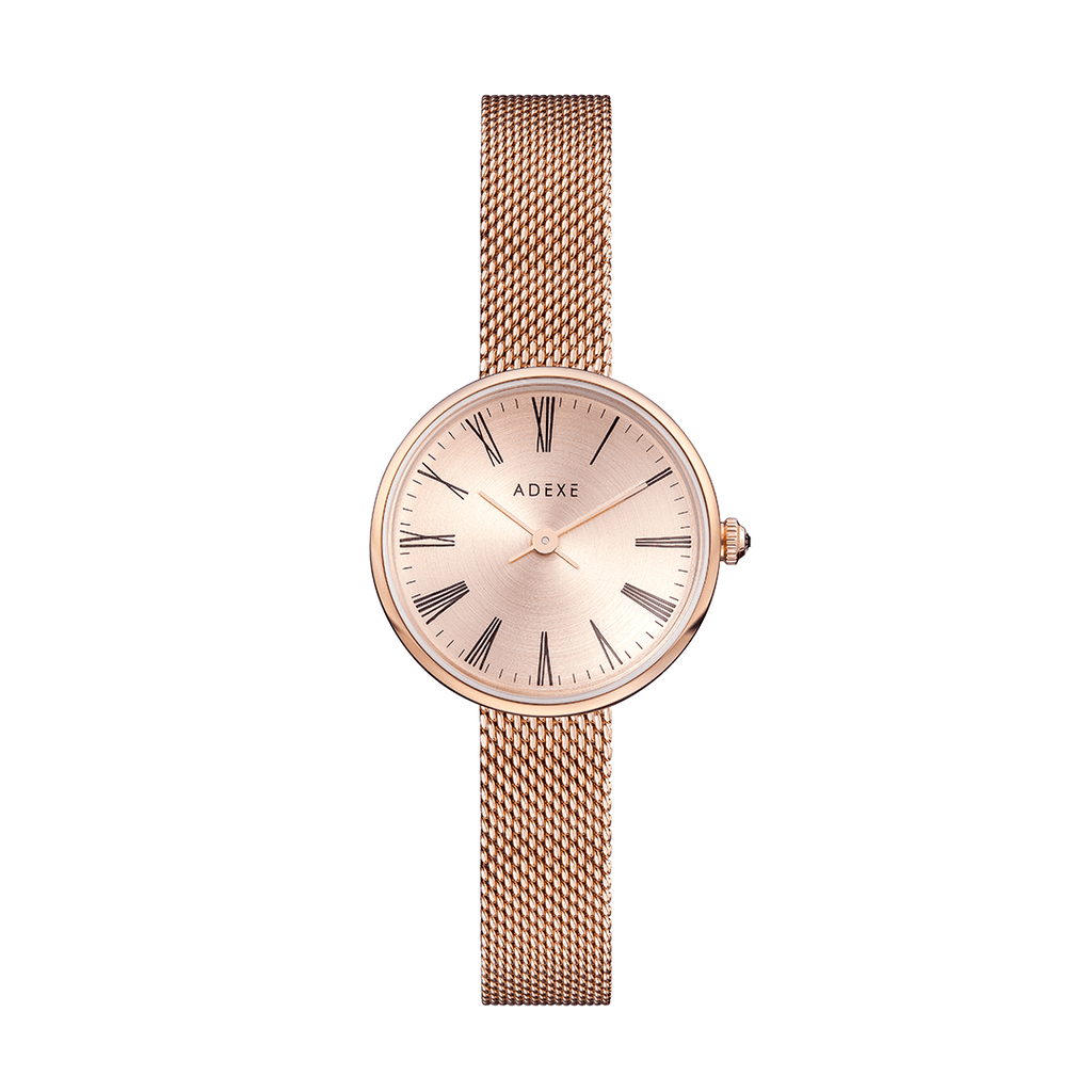 Rose Gold Mesh Case 30mm - ADEXE Watches