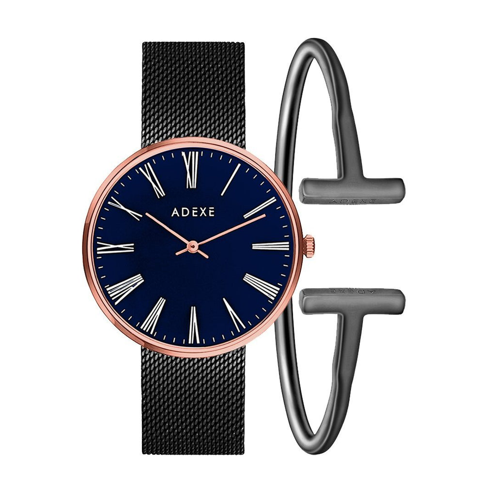 Sistine Boyfriend Crystal Ball Set ADEXE Watches Blue Black S (18cm)