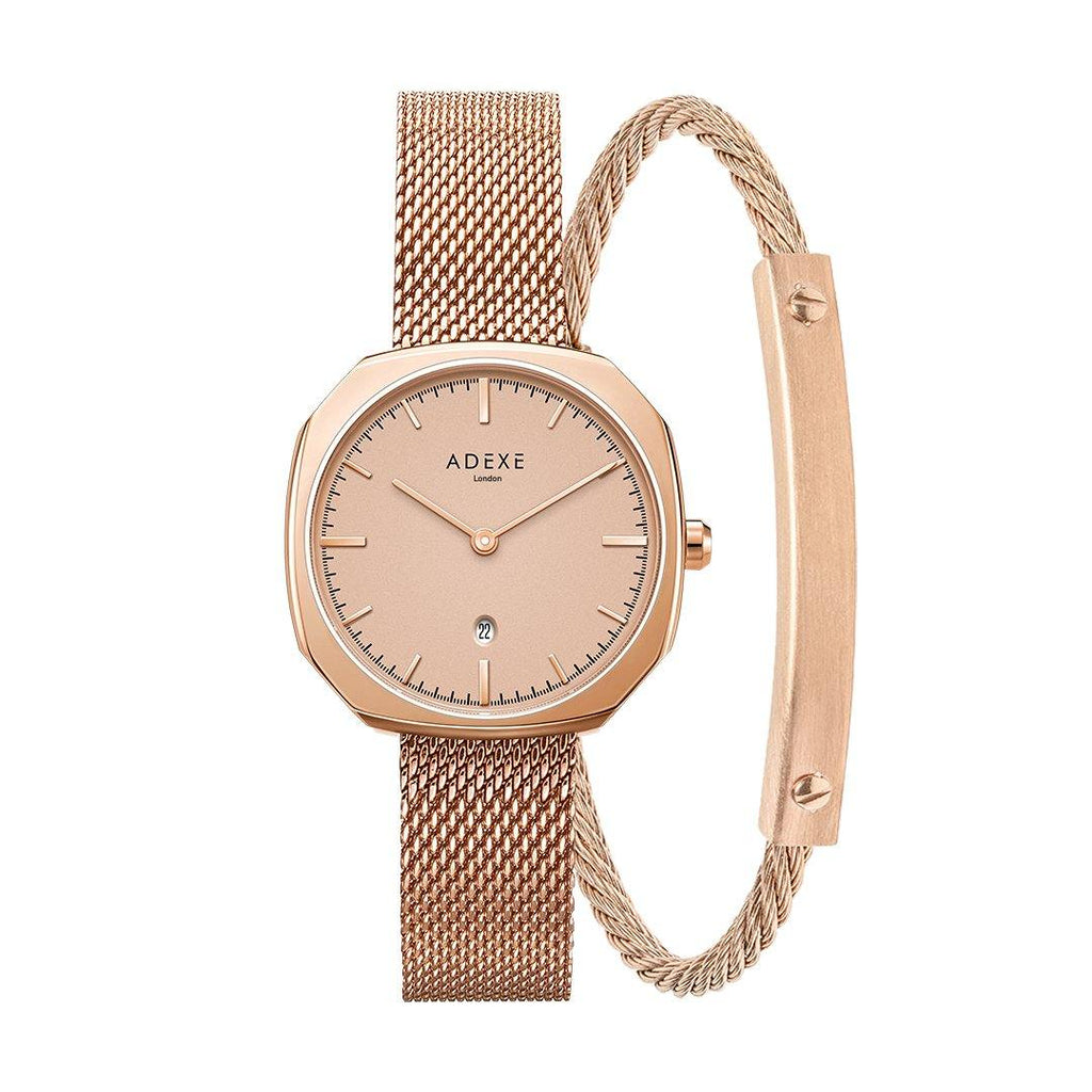 Square Girlfriend Crystal Ball Set (NEW) ADEXE Watches Rose Gold S (18cm)