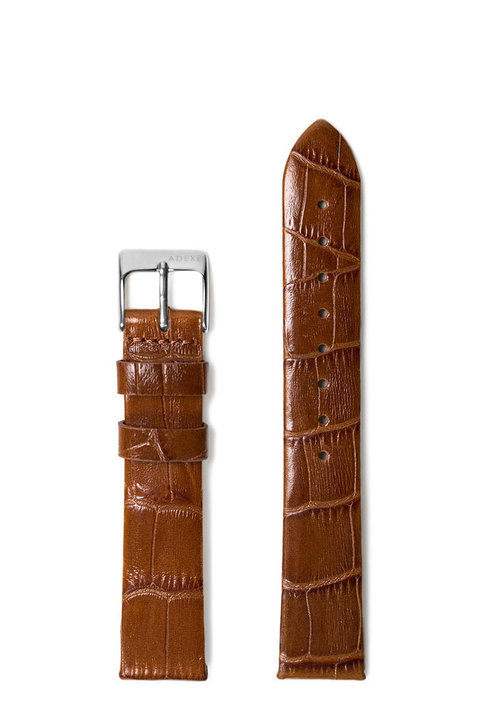 Petite Leather Straps - Light Brown Croc Pattern ADEXE Watches Silver