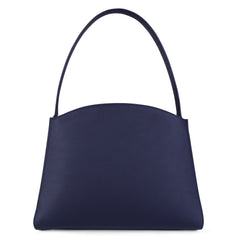 A navy convertible leather tote bag for work with a red and nude detachable clutch in front, back image.