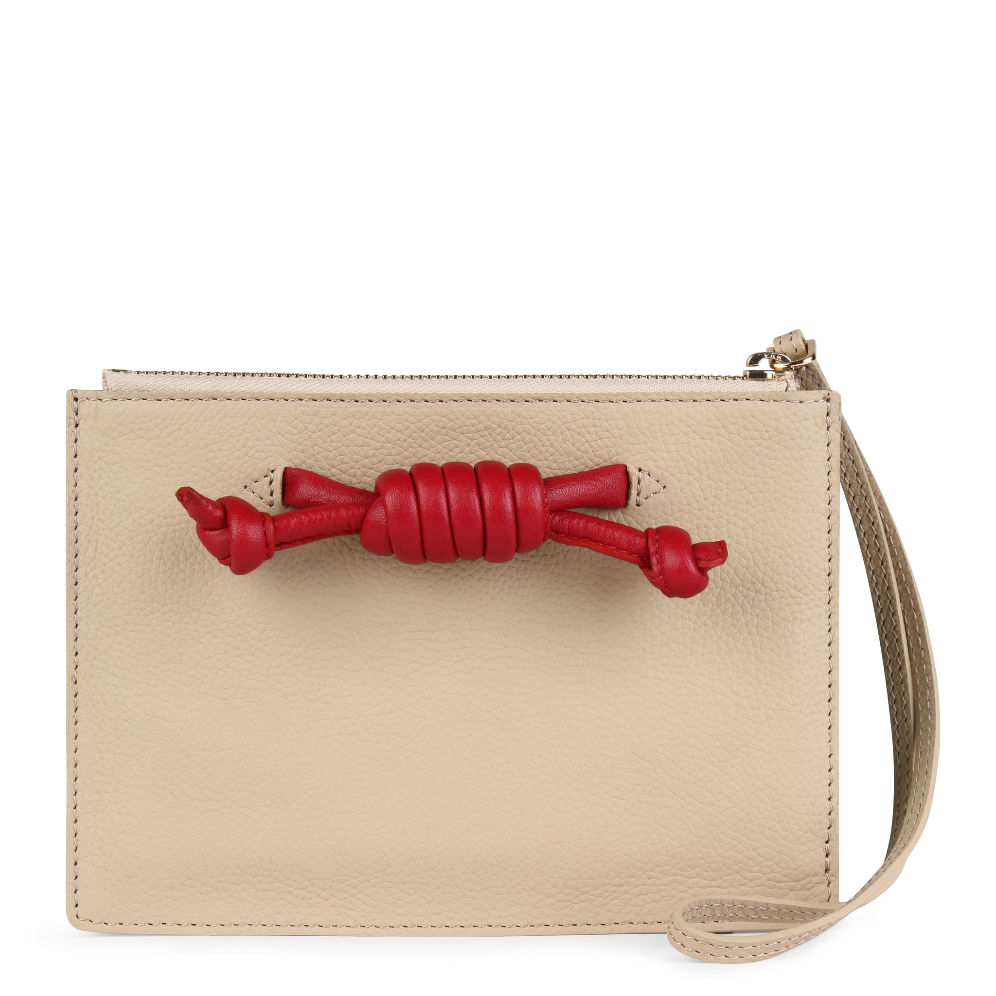 Detachable clutch in nude with red knot detail, front image.