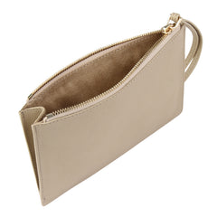Detachable clutch in nude with red knot detail, interior image.