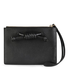 Detachable black clutch with knot detail, front image.