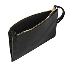 Detachable black clutch with knot detail, interior image.
