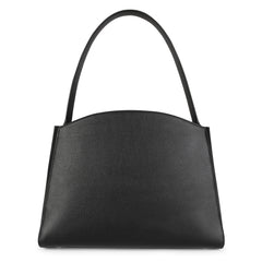 A convertible leather tote bag black with a detachable clutch in front, back image.
