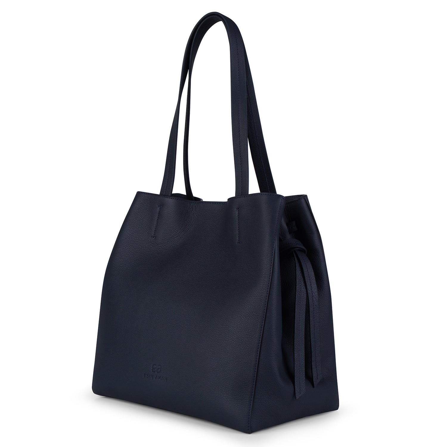 An expandable leather tote bag for women in navy, side image.