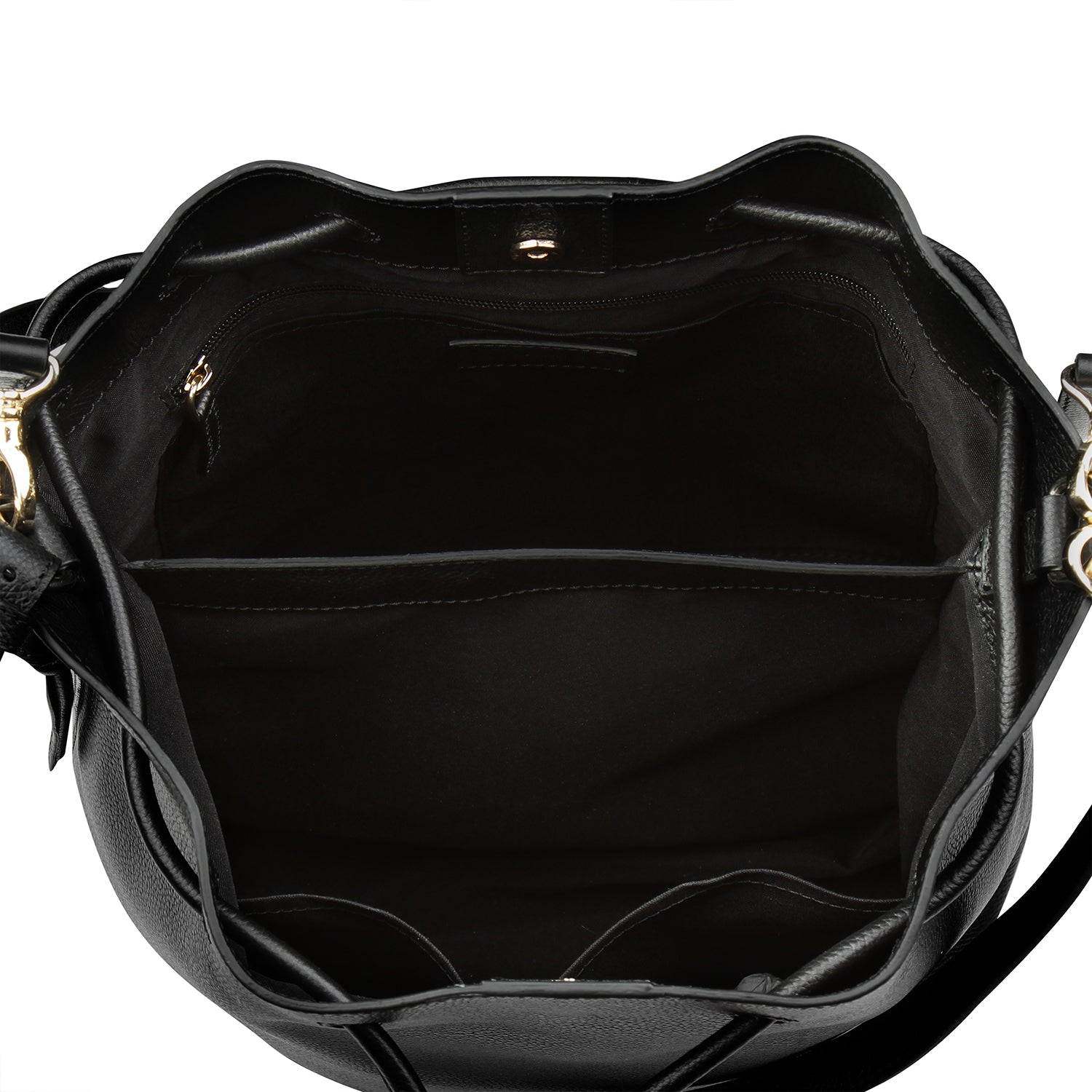 A convertible laptop size womens black leather backpack, interior image.
