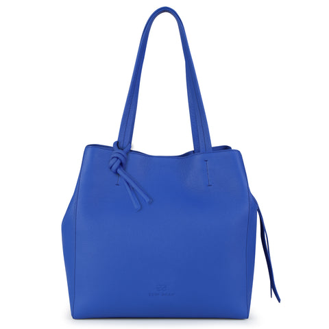 An expandable leather tote bag for women in blue that could be used as a travel bag, front image.