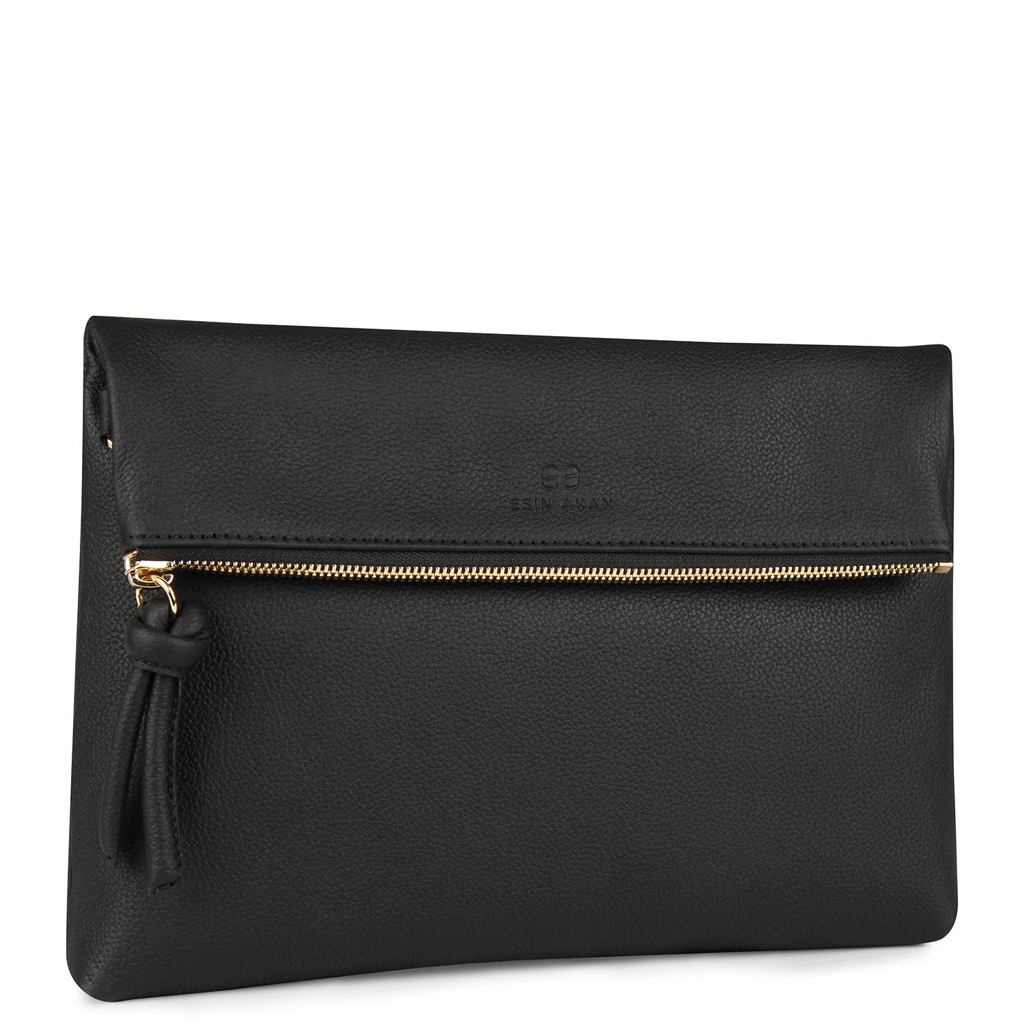 A convertible leather black crossbody bag for women with a zipper that could be used as a clutch in the evening, side image.