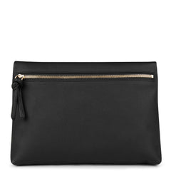 A convertible leather black crossbody bag for women with a zipper that could be used as a clutch in the evening, back image.