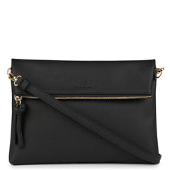 A convertible leather black crossbody bag for women with a zipper that could be used as a clutch in the evening, front image.
