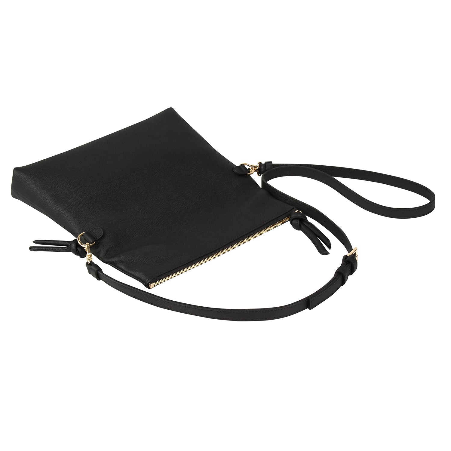 A convertible leather black crossbody bag for women with a zipper that could be used as a clutch in the evening.