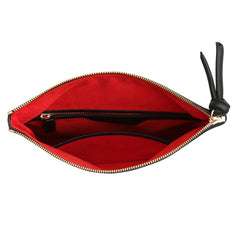 A convertible leather black crossbody bag for women with a zipper, red interior image.