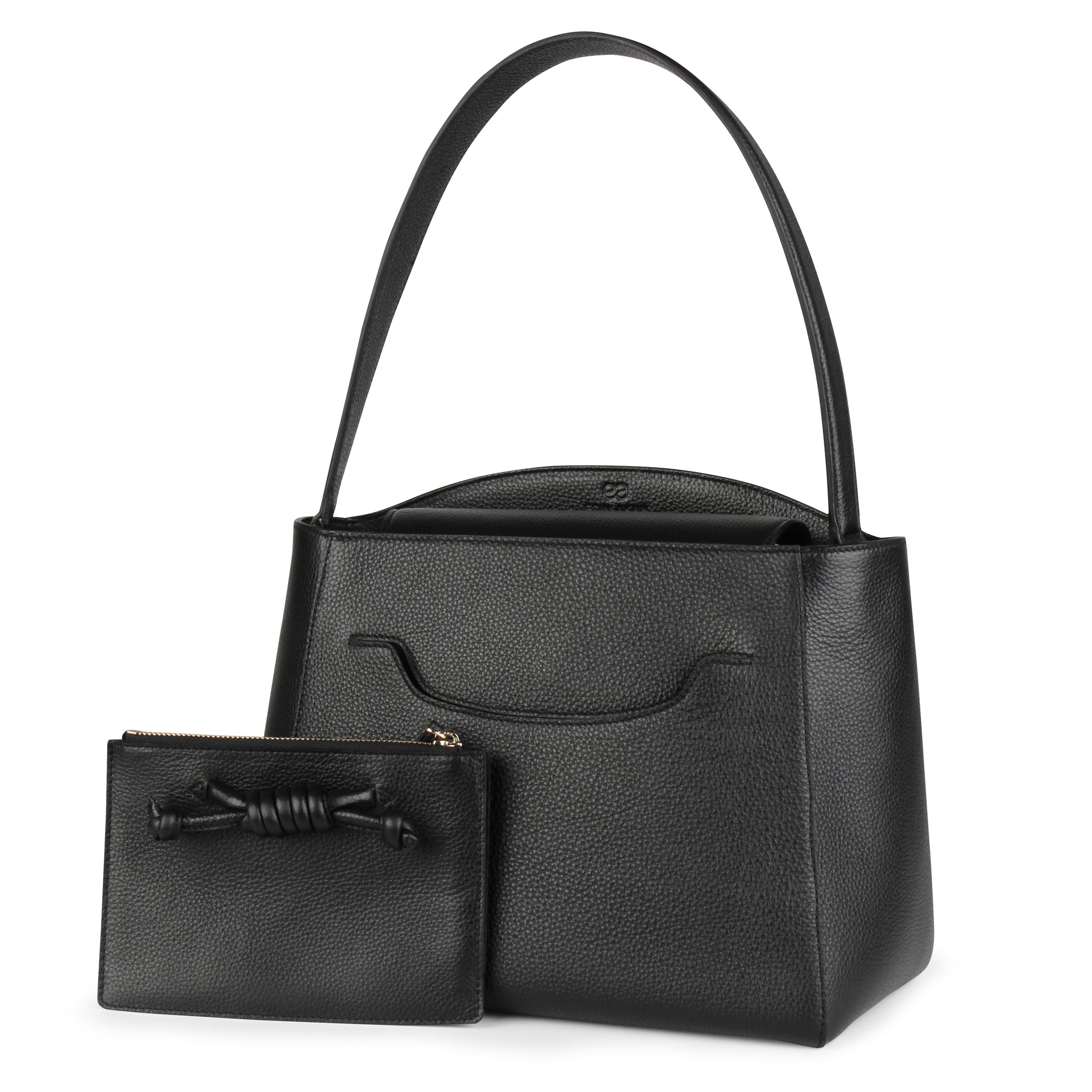 A convertible leather tote bag black with a detachable clutch in front, front image.