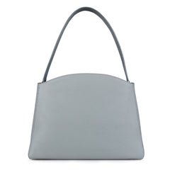 A light grey convertible leather tote bag for work with a detachable clutch in front, back image.
