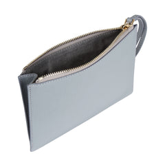 Detachable clutch in light grey with knot detail, interior image.