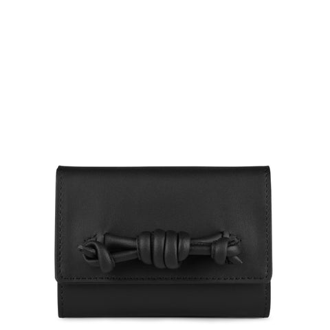 A leather black coin purse with a knot detail, front image.