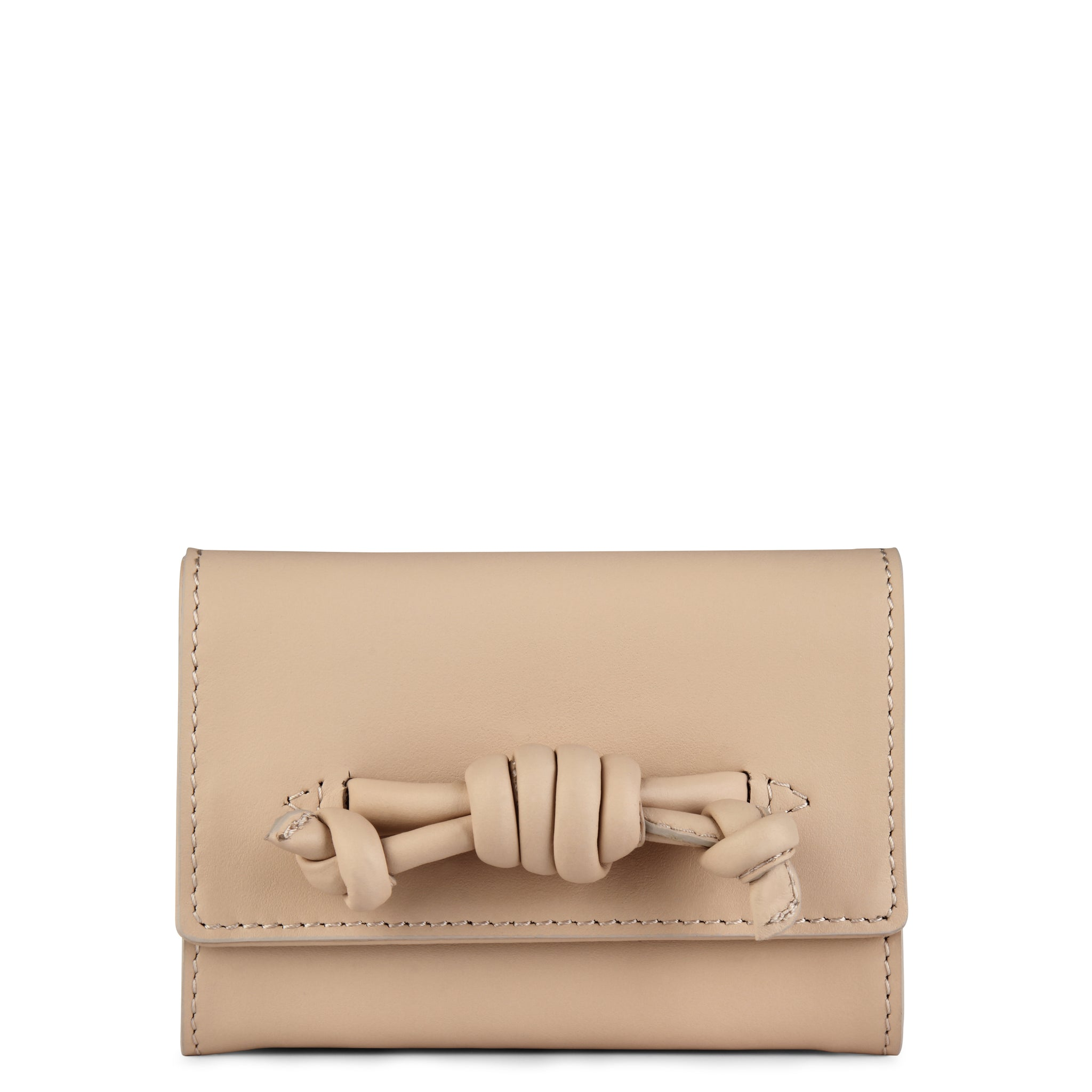 A leather nude coin purse with a knot detail, front image.