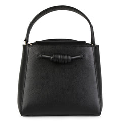 A medium size black convertible leather top handle tote bag with a knot detail in front that could be used as a handheld mini tote bag, front image.