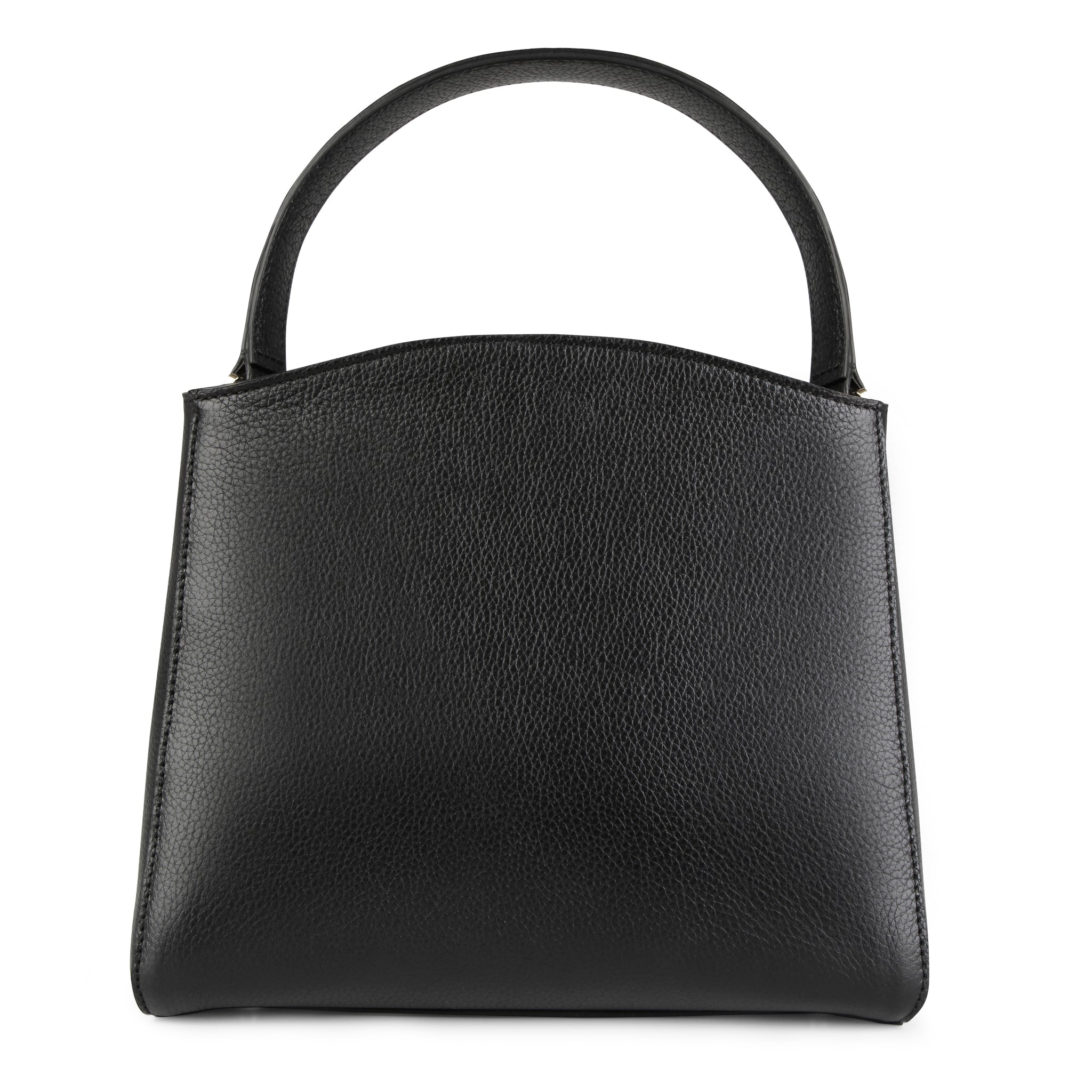 A medium size black convertible leather top handle tote bag with a knot detail in front that could be used as a handheld mini tote bag, back image.